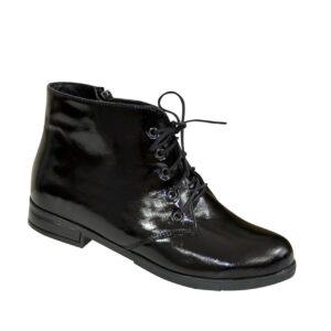 Ботинки женские лаковые черные на шнуровке, низкий ход