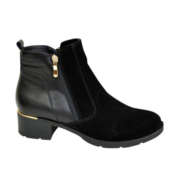 Ботинки женские зимние на устойчивом каблуке, натуральная кожа и замша
