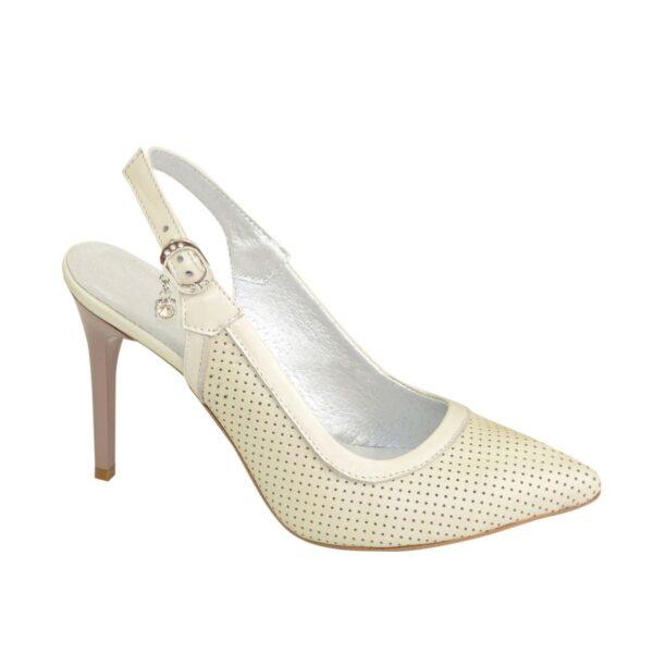 Стильные туфли женские на шпильке, натуральная бежевая кожа