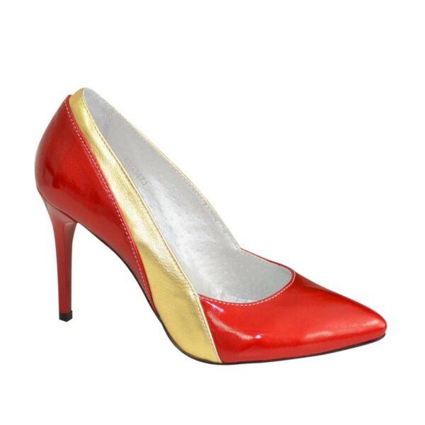 Классические женские лаковые туфли на шпильке, цвет красный/золото