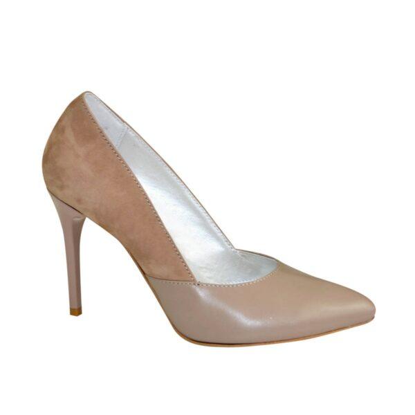 Классические женские туфли на шпильке, цвет визон/беж