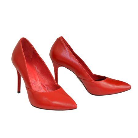 Женские классические туфли-лодочки красные кожаные