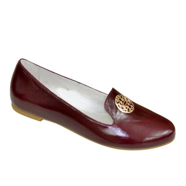 Женские кожаные бордовые туфли на низком ходу