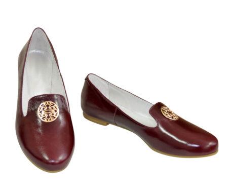Женские туфли из натуральной кожи, бордовые, на низком ходу
