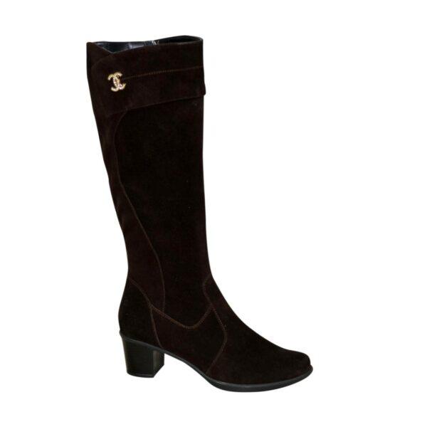 Женские зимние замшевые сапоги на невысоком каблуке, цвет коричневый