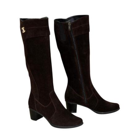 Женские замшевые сапоги зима осень на невысоком каблуке, цвет коричневый