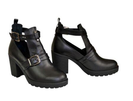 7035ca6c7 Ботильоны открытые женские кожаные черного цвета на широком устойчивом  каблуке