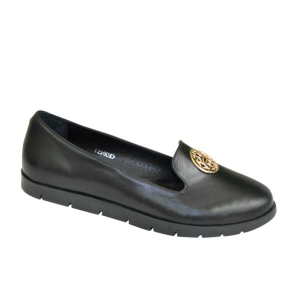 Туфли черные женские кожаные на утолщенной подошве