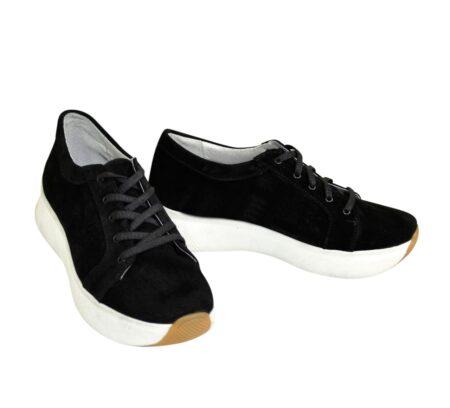 Кроссовки замшевые женские на утолщенной белой подошве, цвет черный