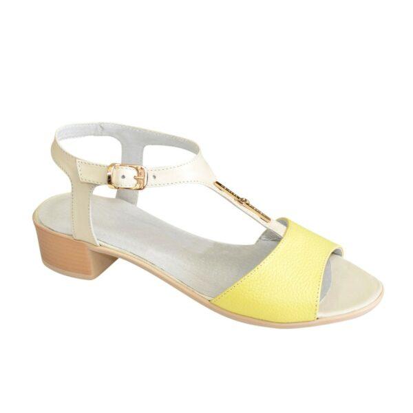 Босоножки женские на невысоком каблуке, цвет желтый/бежевый