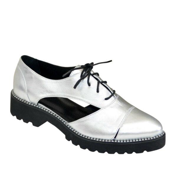 Кожаные туфли женские на низком ходу, цвет серебро