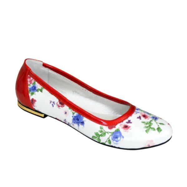 Женские кожаные стильные балетки, цвет красный/цветы
