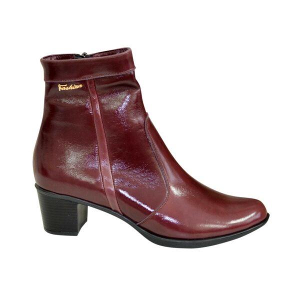 Женские зимние ботинки на невысоком каблуке, цвет бордо