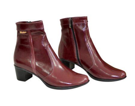 Женские кожаные ботинки зима-осень на удобном невысоком каблуке, цвет бордо