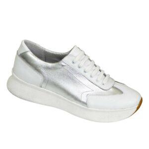 Кроссовки кожаные женские на утолщенной белой подошве, цвет белый+серебро
