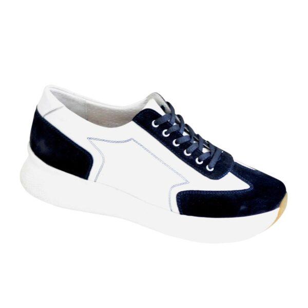 Стильные женские кроссовки на шнуровке, цвет синий/белый