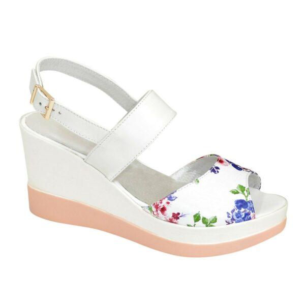 Женские босоножки кожаные на платформе, цвет цветы/белый