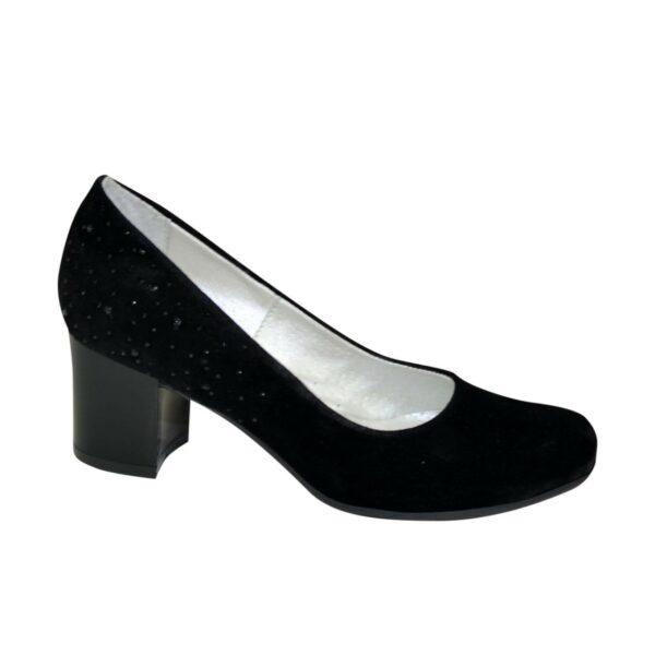 Женские замшевые туфли на невысоком каблуке, цвет черный