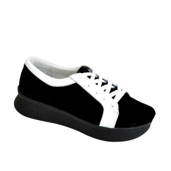 Кроссовки женские на утолщенной подошве, цвет черный/белый