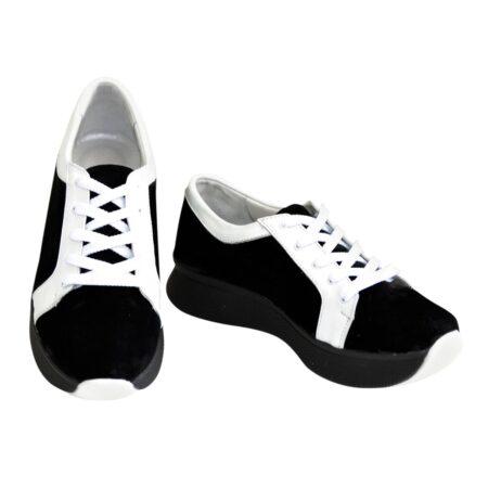 Кроссовки женские на утолщенной подошве черного цвета, черный+белый