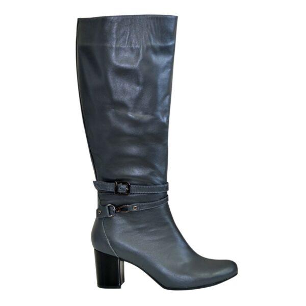Сапоги демисезонные кожаные женские на устойчивом каблуке, цвет серый