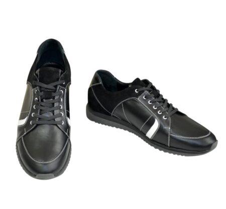 Кроссовки черные мужские на шнуровке, натуральная кожа и замша