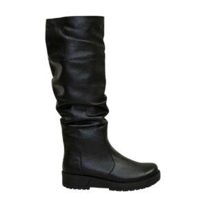 Сапоги женские кожаные черные, на утолщенной подошве