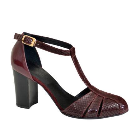 Босоножки женские бордовые кожа+замша с накатом питон на устойчивом каблуке