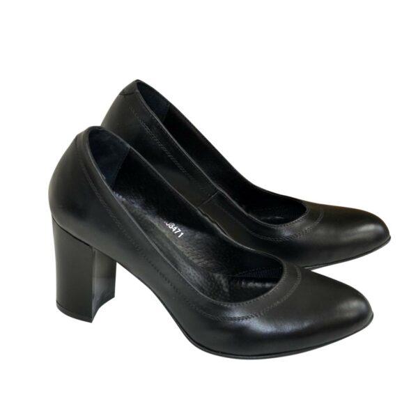 Кожаные женские туфли на устойчивом высоком каблуке