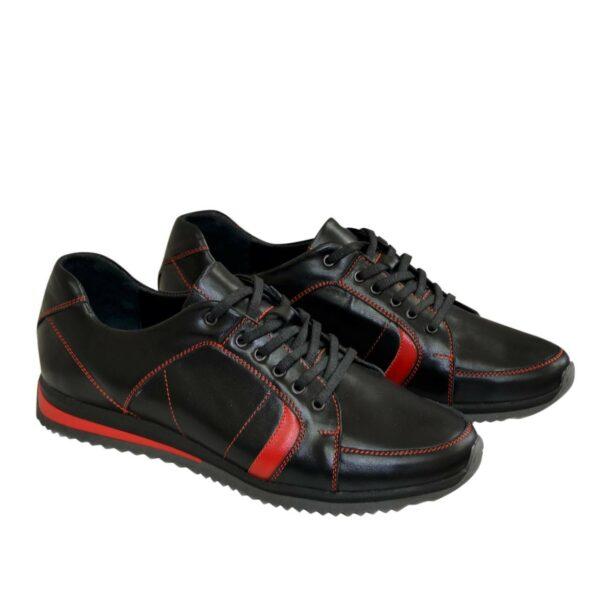 Кроссовки черные мужские на шнуровке, натуральная кожа