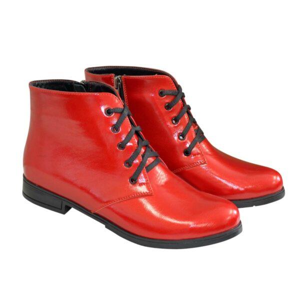 Ботинки женские красные лаковые на шнуровке