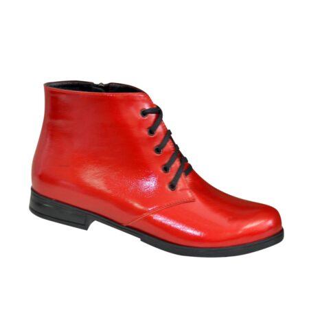 Ботинки женские красные лаковые на шнуровке, низкий ход
