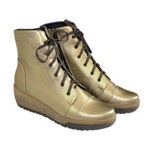 Ботинки женские кожаные бронзового цвета, на невысокой танкетке