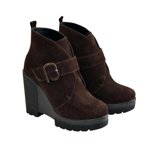 Ботинки замшевые демисезонные женские на высокой платформе