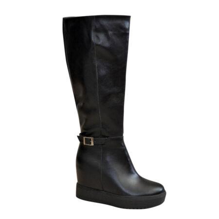Сапоги черные кожаные женские осень зима, на скрытой платформе