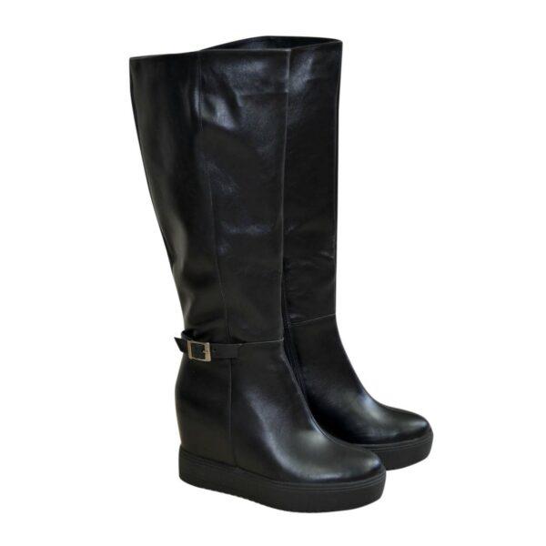 Сапоги черные зимние кожаные женские на скрытой платформе