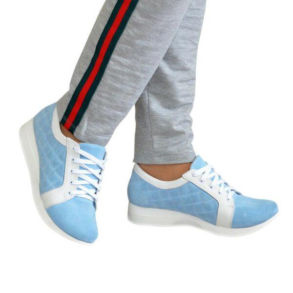 Кроссовки женские на утолщенной подошве, цвет белый/голубой