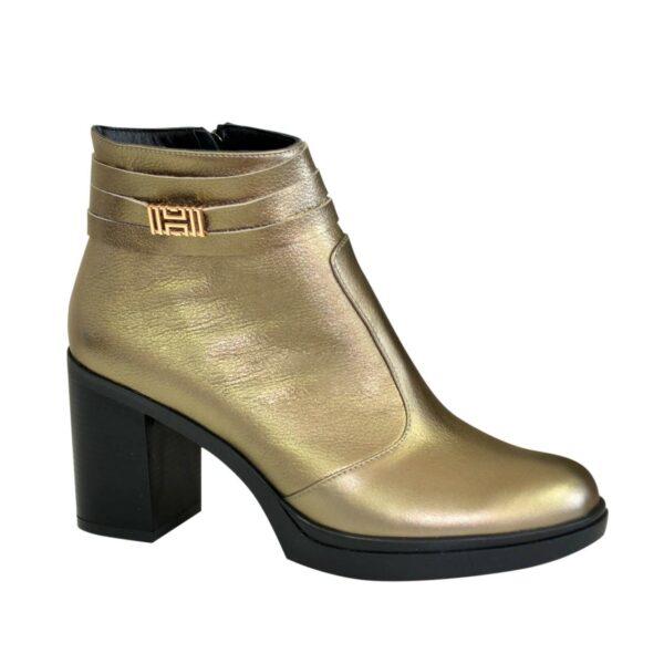 Ботинки демисезонные женские кожаные на устойчивом каблуке