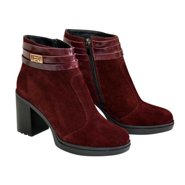 Ботинки демисезонные женские замшевые на устойчивом каблуке