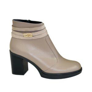 женские кожаные ботинки зима-осень на устойчивом каблуке, цвет визон