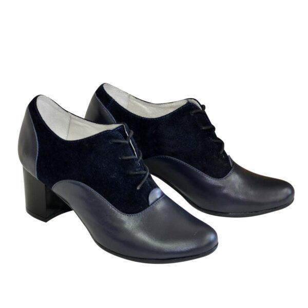 Туфли женские на устойчивом каблуке, натуральная замша и кожа синего цвета