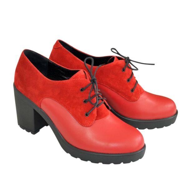 Женские красные туфли на устойчивом каблуке
