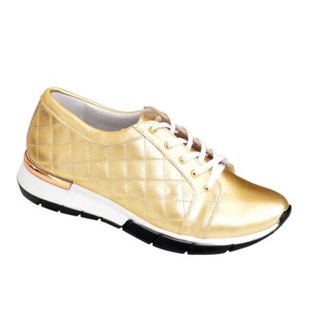 Кроссовки женские кожаные на утолщенной подошве, цвет золото