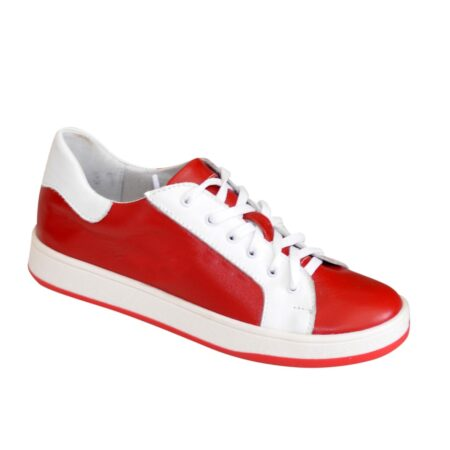 Детские кожаные мокасины на шнуровке, цвет красный, белый