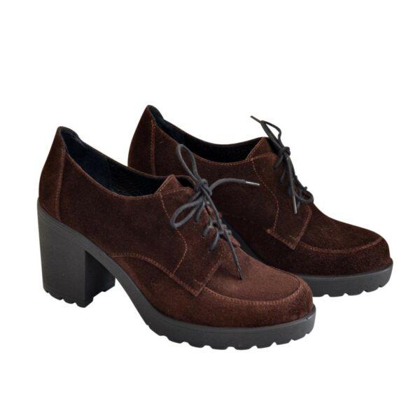 Туфли замшевые женские на устойчивом каблуке, цвет коричневый