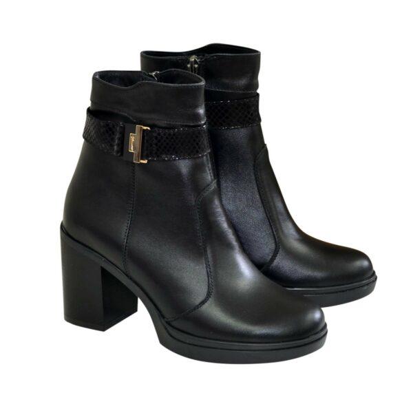 Полуботинки женские черные кожаные зимние на устойчивом каблуке