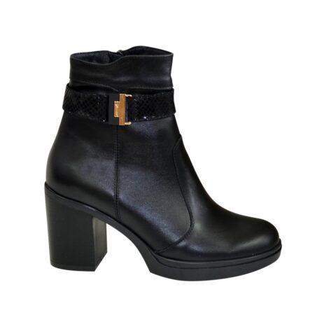 Ботинки женские из натуральной кожи черного цвета на устойчивом каблуке, демисезон-зима