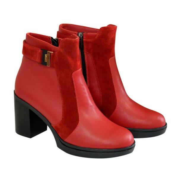 Ботинки красные женские зимние на устойчивом каблуке, натуральная кожа и замша