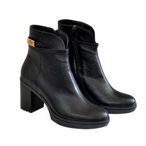 Кожаные черные женские ботинки на устойчивом каблуке, осень-зима