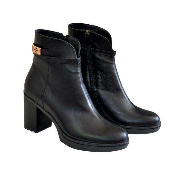 Полуботинки женские черные кожаные на устойчивом каблуке